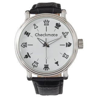 Checkmate Chess Watch - chess pieces on white