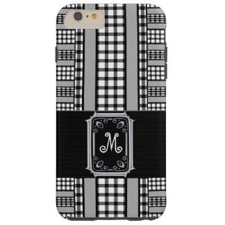 Checks and Plaids in Black and White with Monogram Tough iPhone 6 Plus Case