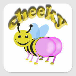 cheeky bee square sticker