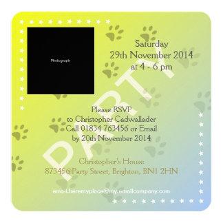Cheeky Cat Footprints (add photograph) 13 Cm X 13 Cm Square Invitation Card