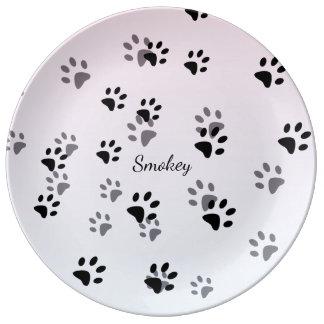 Cheeky Cat Footprints Template Porcelain Plates