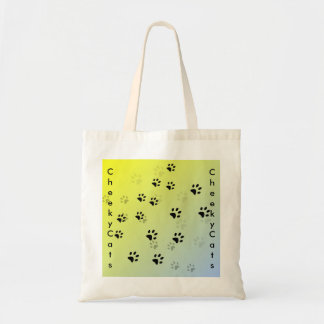 Cheeky Cat Footprints with Yellow Background Budget Tote Bag
