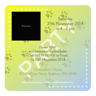 Cheeky Cat Footprints with Yellow Background Customized Invitation Cards
