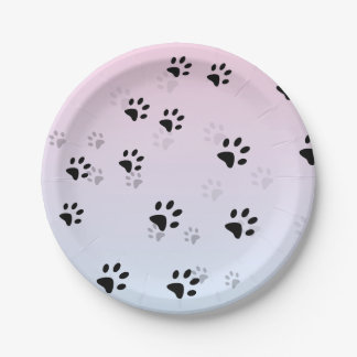 Cheeky Cats Footprints Pink and Blue 7 Inch Paper Plate