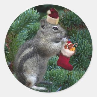 Cheeky Christmas Chipmunk Round Sticker