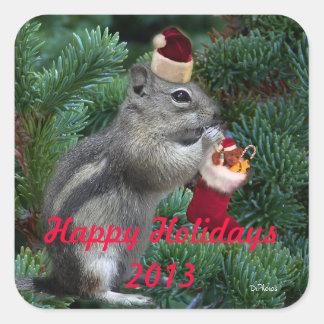 Cheeky Christmas Chipmunk Square Sticker