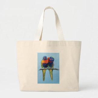 Cheeky colourful Rainbow lorikeets preening each Canvas Bags