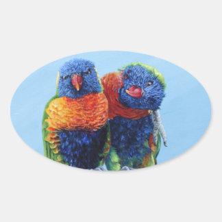 Cheeky colourful Rainbow lorikeets preening each Oval Stickers