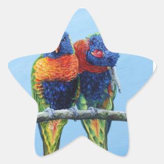Cheeky colourful Rainbow lorikeets preening each Star Sticker