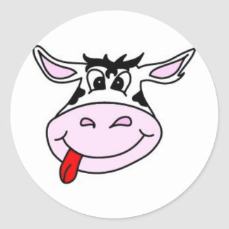 Cheeky Cow Round Stickers