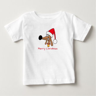 Cheeky Dachshund Christmas Baby Fine Jersey Tee
