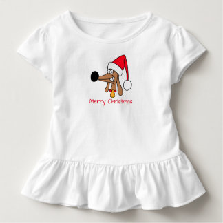 Cheeky Dachshund Christmas Toddler Ruffle Tee