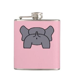 Cheeky Elephant Bottom Grey Colour Vector Hip Flask