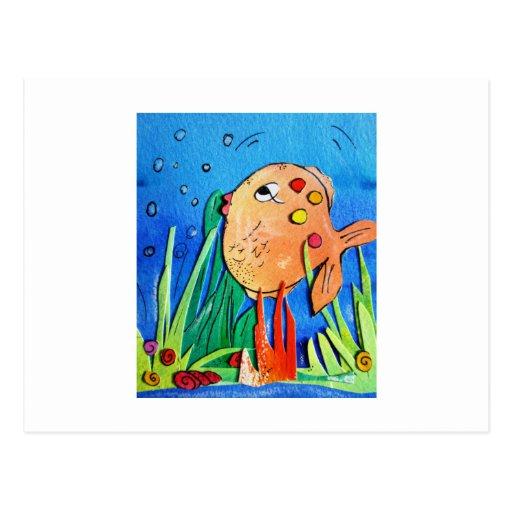 Cheeky fish -pixi-art.com postcard