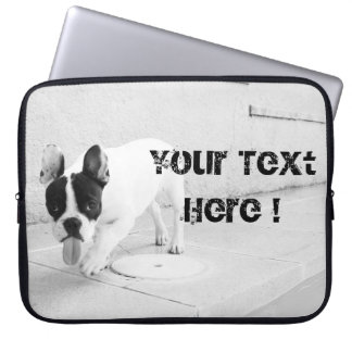 Cheeky Frenchie Black & White- Template Laptop Sleeve