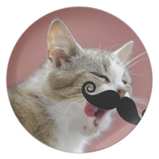 Cheeky Ginger Tabby Cat with Tongue Out & Mustache Plate