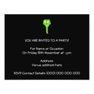 Cheeky Green Snake Cartoon on Black 11 Cm X 14 Cm Invitation Card