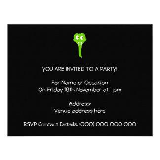 Cheeky Green Snake Cartoon on Black Custom Invite
