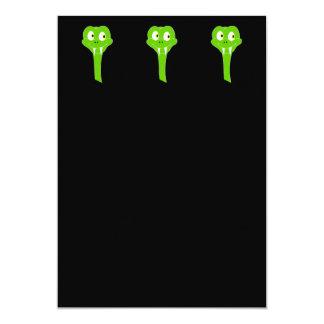 Cheeky Green Snake Cartoon on Black Custom Invitation