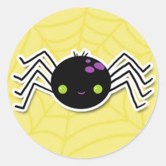 Cheeky Halloween Spider on Yellow Round Sticker