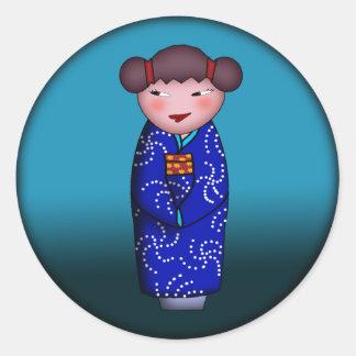 Cheeky Kokeshi, sticker Round Sticker