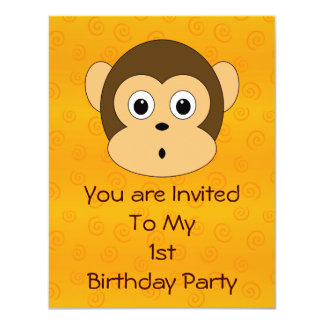 Cheeky Monkey Birthday Party Invitation