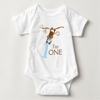 Cheeky Monkey Blue Stripes 1st Birthday Baby Bodysuit