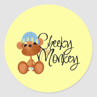Cheeky Monkey - Boy Tshirts and Gifts Round Stickers
