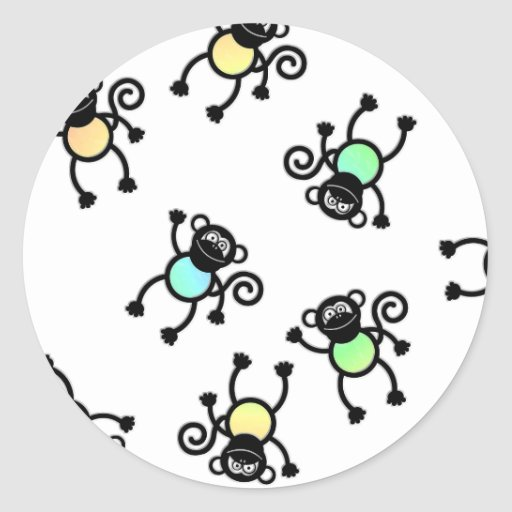 Cheeky Monkey colour Round Sticker
