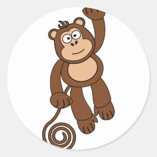Cheeky Monkey Design Round Sticker