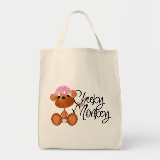 Cheeky Monkey - Girl Tshirts and Gifts Grocery Tote Bag