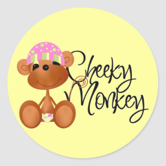 Cheeky Monkey - Girl Tshirts and Gifts Round Sticker