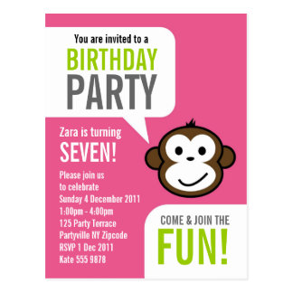 Cheeky Monkey Invitation 2 [baby pink] Postcards
