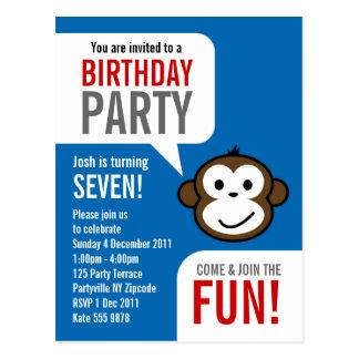Cheeky Monkey Invitation 2 [blue] Postcard