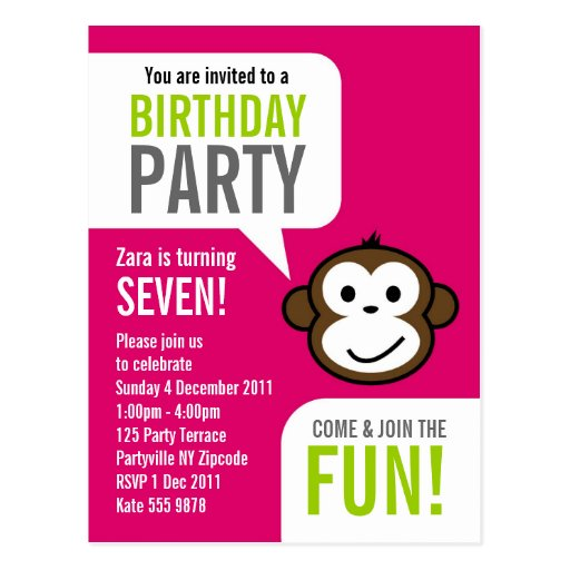 Cheeky Monkey Invitation 2 [hot pink] Post Card