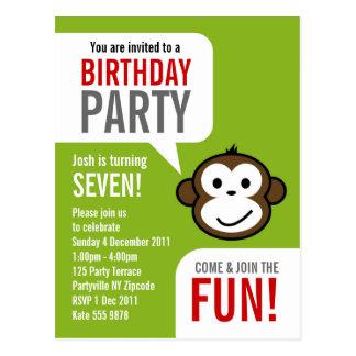 Cheeky Monkey Invitation 2 [lime] Post Card