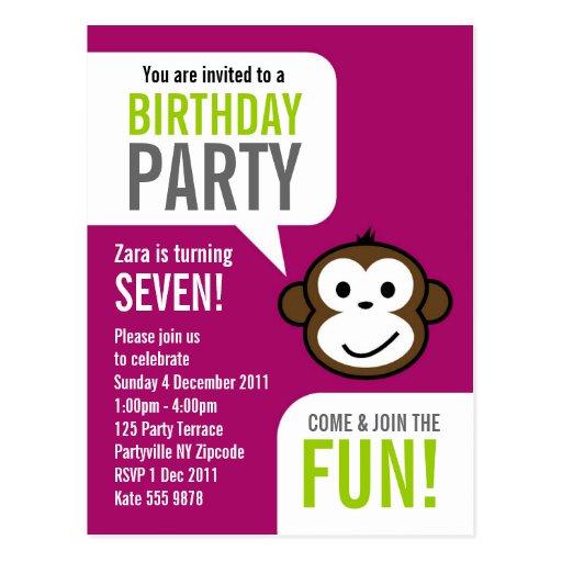Cheeky Monkey Invitation 2 [purple] Postcards
