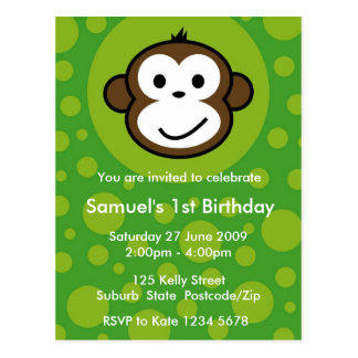 Cheeky Monkey Invitation [lime] Postcards