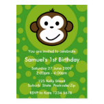 Cheeky Monkey Invitation [lime] Postcards