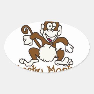 Cheeky Monkey Oval Sticker