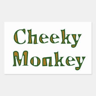 cheeky monkey rectangular sticker