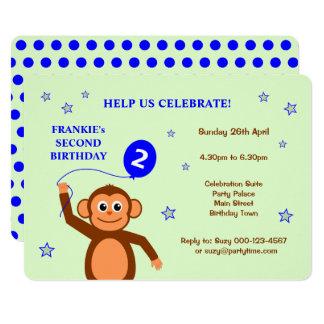 Cheeky monkey second birthday party invitation