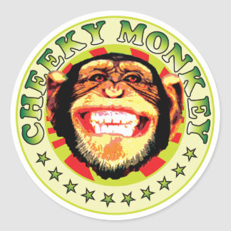 Cheeky Monkey Round Stickers
