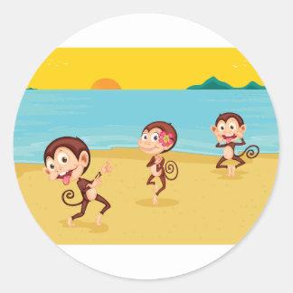 cheeky monkeys round sticker