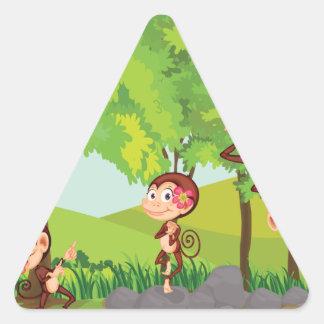 Cheeky monkeys triangle stickers