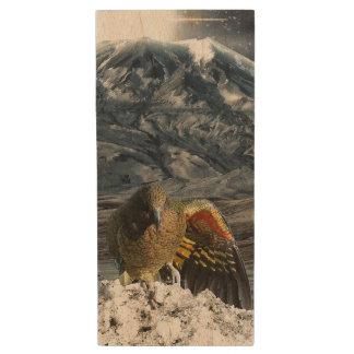 Cheeky new zealand kea mountain parrot wood USB flash drive