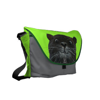 cheeky otter bright lime messenger bag