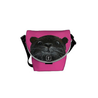 cheeky otter bright pink messenger bag small