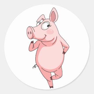 Cheeky pig round sticker