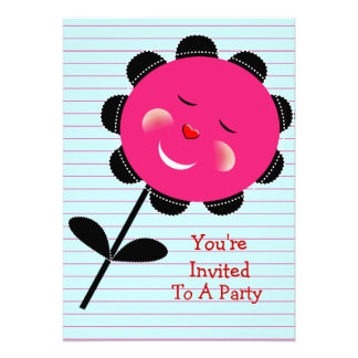Cheeky Pink Whimsical Sunflower Personalized Invite